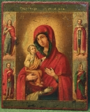 Икона Божией Матери Троеручницы с предстоящими святыми