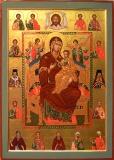 Икона Божией Матери Всецарица со святыми целителями на полях.