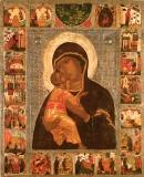 Владимирская икона БМ с клеймами Жития праведных Иоакима и Анны