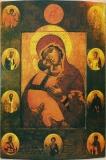 Владимирская икона БМ с Престолом уготованным и избранными святыми на полях.